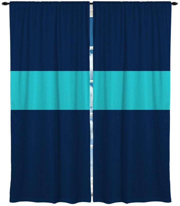 Custom Window Curtain Thick Bold Horizontal Stripe By