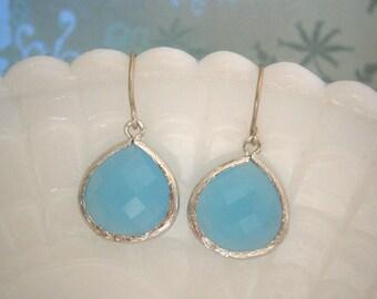 Aqua Blue Earrings, Silver Framed Glass Earrings, Mom Gift, Best Friend Birthday, Beach Wedding, Bridesmaid Earrings