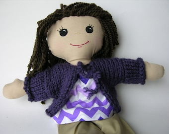 Doll Sweater - Handknit Sweater for Doll - Cardigan for Doll