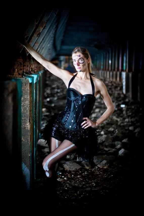 BLACK WIDOW Burlesque Corset Costume sequins Circus Steampunk Gypsy dress