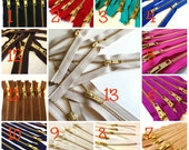14 inch metal zippers, gold teeth, Choose FIVE pcs, neutrals, pink, camel, fuchsia, blue, red, turquoise, great for leather purses, dresses