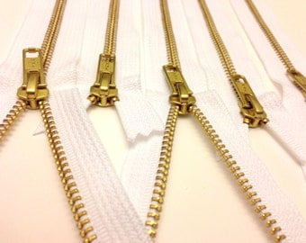 14 inch metal zippers wholesale, TEN pcs, white, YKK color 501, perfect for jewelry and accessory making, brass zippers, white tape