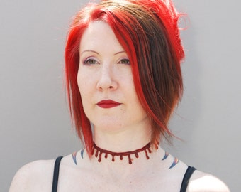 Creepy Necklace - Blood Drip choker necklace -Macabre dark red