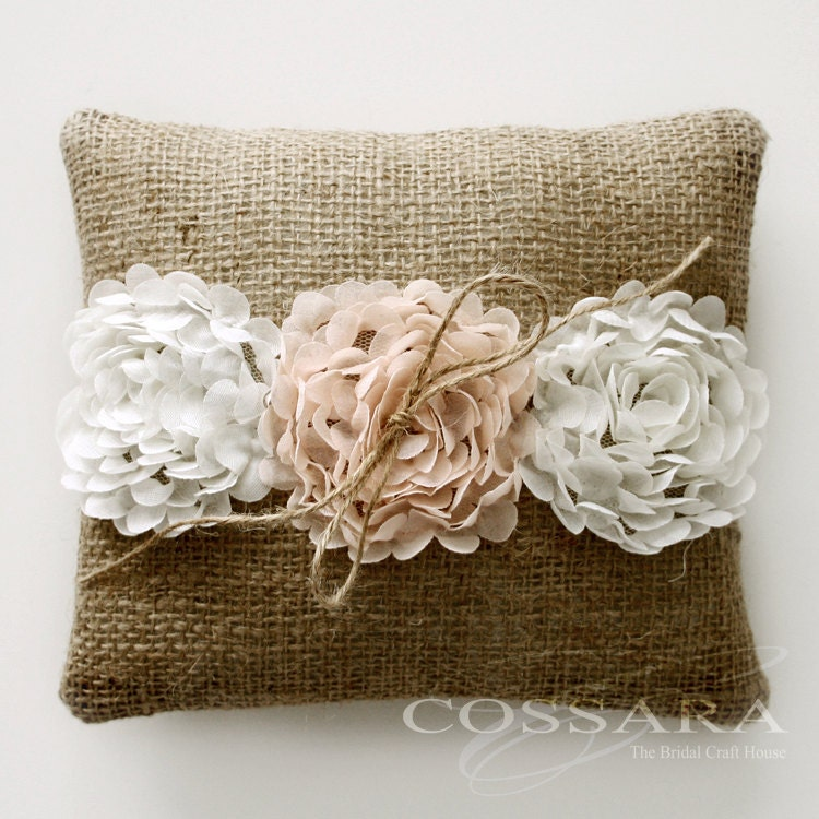 Rustic / Shabby Chic Burlap Ring Pillow with Ciffon Flower