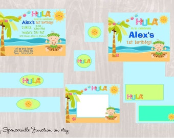 Digital Luau 1st Birthday Boy Pool Party Invitation with Printable Party Pack DIY