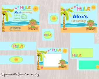 Digital Luau 1st Birthday African American Boy Pool Party Invitation with Printable Party Pack DIY