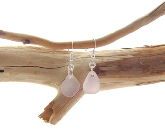 Sterling Silver French Ear Wire with Lavender Beach/Sea Glass