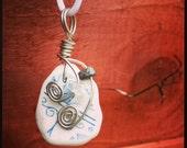Irish Sea Pottery Pendant - Lovely Design with Quartz and Lapis gemstones...