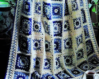 INSTANT DOWNLOAD PDF Vintage Crochet Pattern for Blue and White Granny Square Afghan Throw   Retro