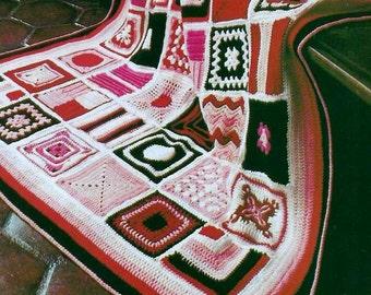 INSTANT DOWNLOAD PDF Vintage Crochet Pattern for Granny Square Mosaic Sampler Afghan Throw Blanket