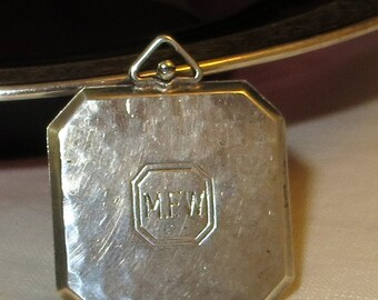 Carl Art Sterling Silver Hammered Locket Pendant Initials MFW Two Picture