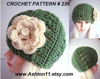 Crochet Cloche Hat Pattern - newborn to adult, ok to sell your hats, women, teens - pdf instant digital download # 236, craft supplies