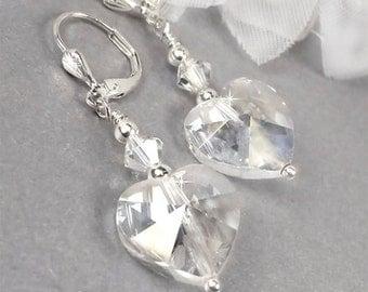 Crystal Bridal Earrings, Swarovski Crystal Heart Bridal Earrings, Crystal Wedding Earrings, Dangle Wedding Earrings - Jane WE0035