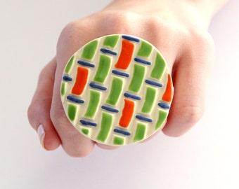 Fashion Ring Ceramic - big bold oversize handmade statement ring - FASHIONISTA -  2.1 inch