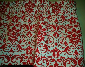 Red White Damask Demask Bedroom itchen Window Curtain Valance Decor