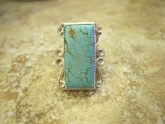 western sterling silver turquoise ring size 10 free