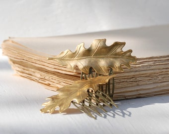 Golden LEAF Hair Combs Woodland Whimsical Nature Bridal Gold LEAF Fairy Wedding Autumn