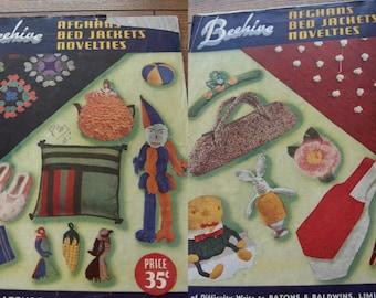 vintage 40s/50s knitting crochet patterns beehive novelties afghans bed jackets series 14