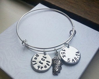 Runner Adjustable Bangle Bracelet - Running Shoe Charm - Marathon Tag - Swarovski Birthstone Crystal Or Pearl - Graduation Gift