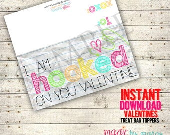 INSTANT DOWNLOAD Printable Hooked on you Valentine! Valentines for Valentines Day perfect for school or Valentine's Day Parties