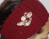 Burgundy Red Headband and Rose