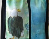 Bald Eagle hand painted silk scarf