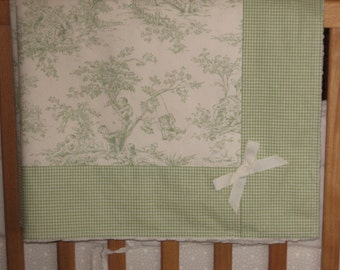ABC Central Park Toile Baby Blacket with Check Border and Minky Dot Reverse