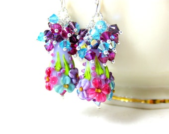 Colorful Floral Earrings, Crystal Cluster Earrings, Purple Pink Turquoise Blue Earrings, Lampwork Earrings, Flower Earrings, Floral Jewelry