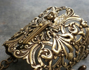 Guardian Angel Bracelet Wide Brass Statement Cuff