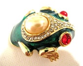 Enamel FROG Brooch Rhinestones Faux Pearl Red Eyes