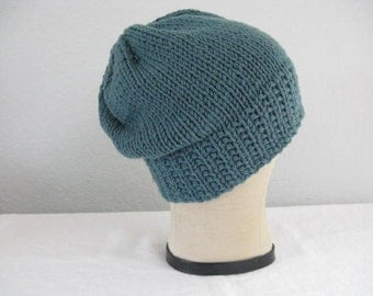 Slightly Slouchy Beanie in Merino Wool. Soft Teal Green Hat. Hand Knit. Fall and Winter Accessories.