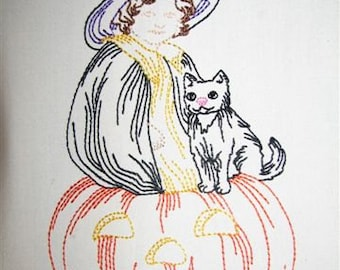 Machine Embroidery Design- Halloween Colorline #02- Girl in Witch Costume, Jack O' Lantern and Black Cat- with 3 sizes Included!
