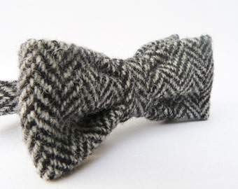 Boys Harris Tweed Bow Tie - Black/Grey Herringbone