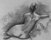 Back Tattoo Nude Figure  - Signed Giclee Print of Original Charcoal Figure Drawing by Nancy Cuevas