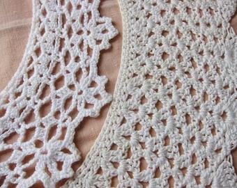 Vintage lace collar  lot 2  French  handmade. Vintage dressmaking, vintage lace trim,
