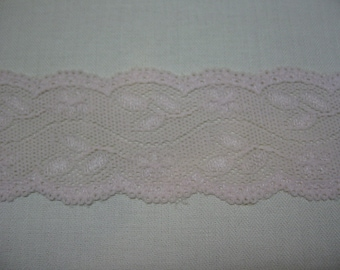 """2"""" Pink Stretch Lace Double Scalloped Baby Clothes Headbands Lingerie Embellish Jeans Coats Hats Shorts Pants 5 yard cut"""