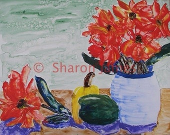 """Blue Vase, pallet knife painting, acrylic, by Sharon James, 11""""x9"""""""