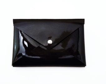 Business Card Holder Case Credit Card Wallet Leather Black Patent