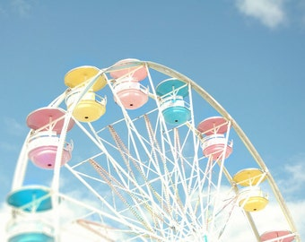 """Ferris wheel carnival photo midway county fair blue pink yellow pastel summer - """"Spinning wheel"""" 8 x 10"""