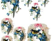 Instant Digital Download Robin Birds Blue Forget Me Nots Flowers Clip Art PNG and Instructions on how to make Waterslide Decals too! ECS