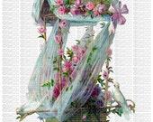Instant Digital Download Pink Roses Ribbons Nest White Doves Birds Die Cut Art Victorian Era Transparent PNG -  ECS