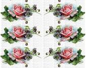 Instant Digital Download Cottage Pink Roses Violets Vintage Catherine Klein Victorian Era Clip Art Transparent PNG - U Print ECS