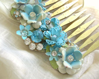 Aqua Blue Weddings Hair Accessories, Vintage Jewelry Assemblage Hair Comb, Charming Christmas Gift, Shabby Chic Headpiece