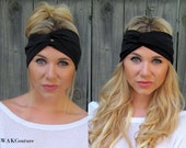 Black Turban Headband Black Twist Head Wrap All Around Stretch Wide Double Layer Cotton Jersey Women's Hair Accessory or Choose Your Color