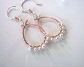 Silver, Copper and Pearl Hoop Earrings, Hammered and Made for the Fun at Heart