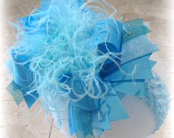 Frozen hair Bow, Mystic Over the Top Hairbow, Frozen hairbow, Blue OTT Bow, Large Hair Bow, Large Hairbows, Girls Hair Bow, Boutique Hairbow