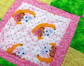 Baby Shower Gift, Baby Girl Blanket, Handmade Baby Quilt, Pink Yellow Green Baby Quilt, Baby Bedding, Dolls and Moons, Christmas in July