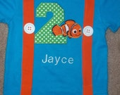 Clown Fish Suspenders Shirt with Birthday Number in Aqua