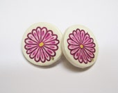 Vintage Pink Flower Post Earrings