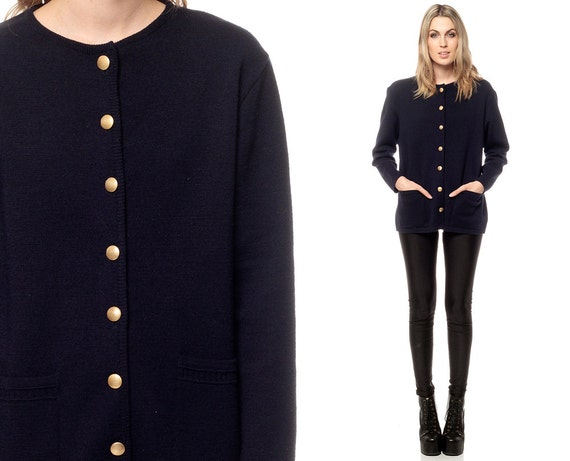 Preppy Cardigan Sweater 80s Navy Blue Gold Button Up Slouchy